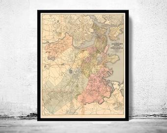 Old Map of Boston 1883 Massachusetts
