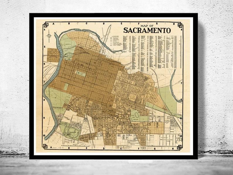 Old map Sacramento California 1920   Etsy Map Of Sacramento California on
