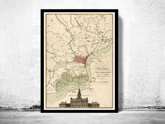 Old Map of Philadelphia, United States 1777