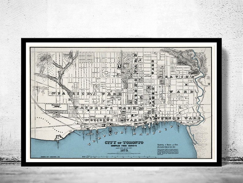 Map Of Canada Toronto Ontario.Old Map Of Toronto Ontario Canada 1873 Vintage Map Toronto
