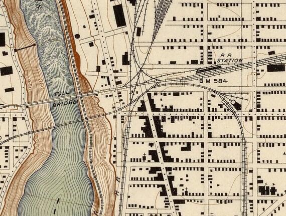 Vintage Map Of Niagara Gorge Canada Niagara Falls Stamford 1913