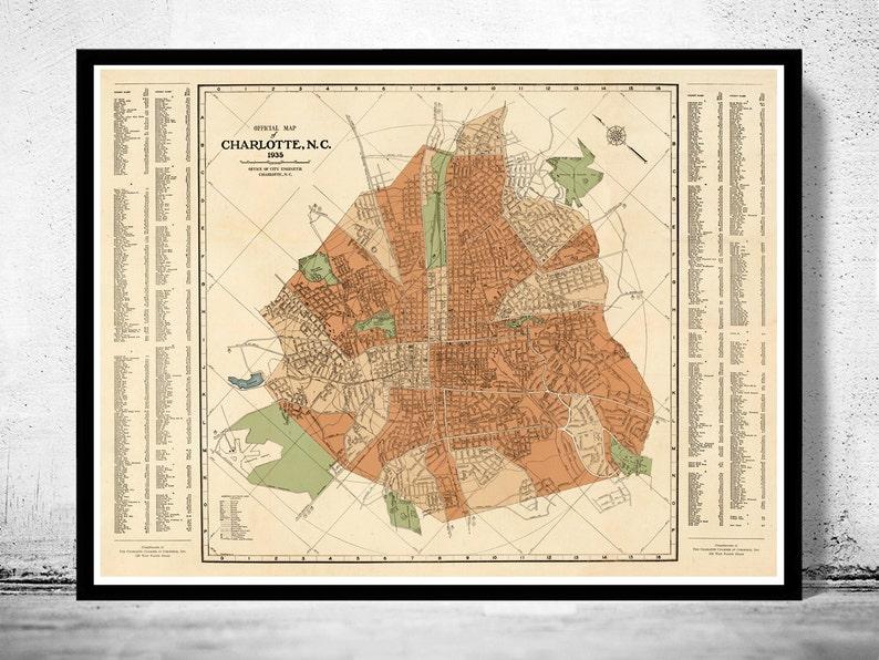 Old map of Charlotte North Carolina | Etsy