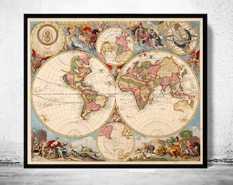 Old Map of The World  1700 Antique map