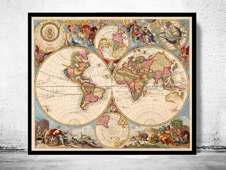 Old Map of The World 1700 Antique map | Etsy