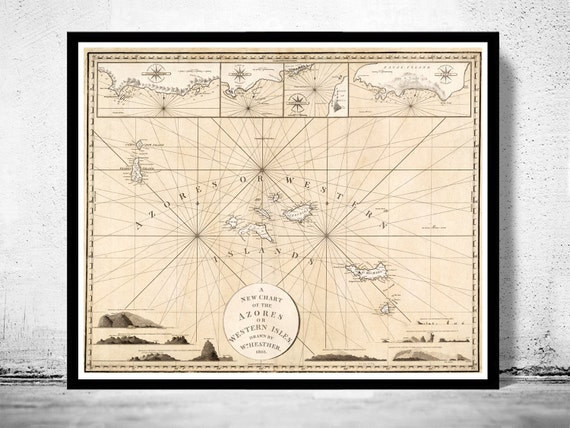 Old Map Of Acores Azores Islands 1803 Etsy