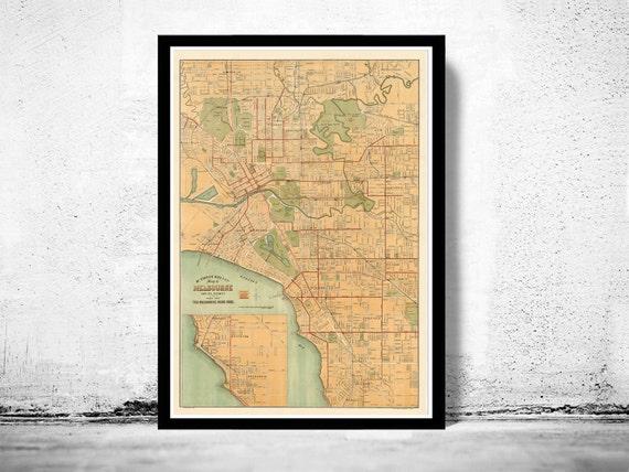 Vintage Map of Melbourne City 1913 Australia Oceania | Etsy