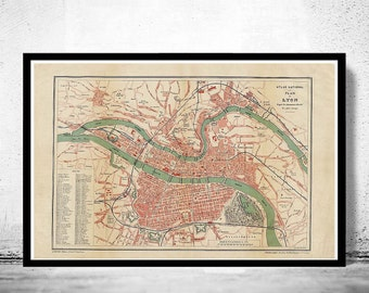 Old Map of Lyon  France 1890