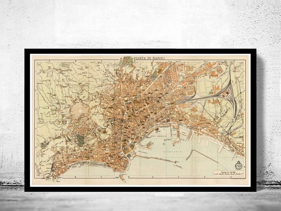 La Cartina Di Napoli.Vecchia Mappa Di Napoli Napoli 1930 Antique Vintage Italia Etsy