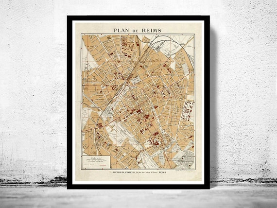 Old Map of Reims France 1926 | Etsy