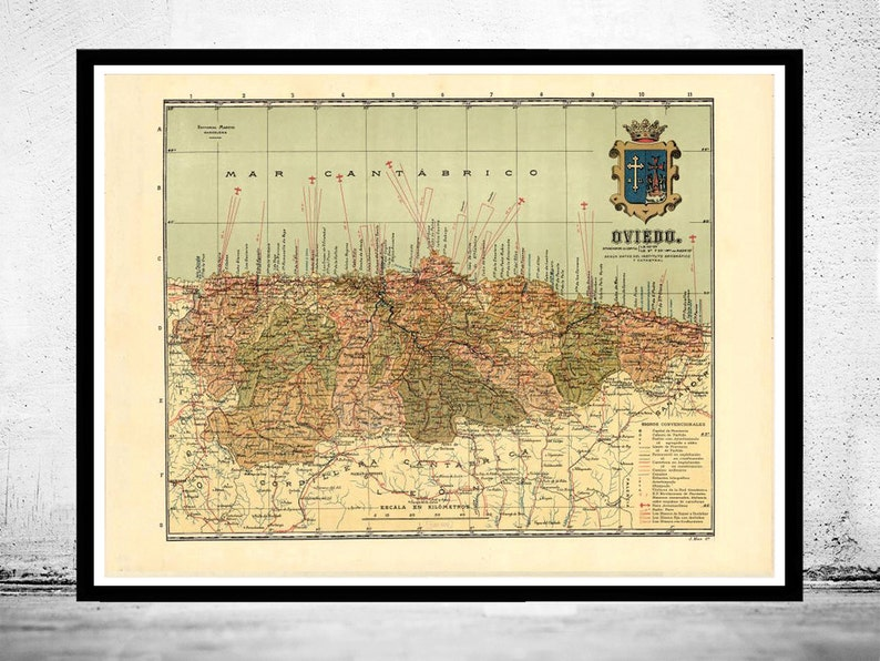 Map Of Spain Oviedo.Old Map Of Oviedo Asturias 1900 Spain