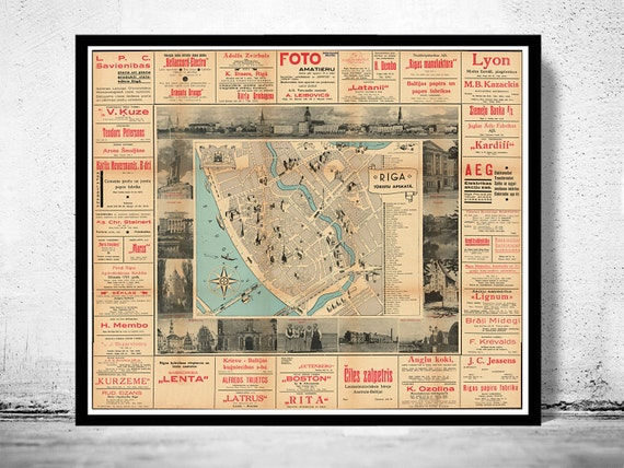 Old Map Of Riga Latvia Etsy - Old riga map