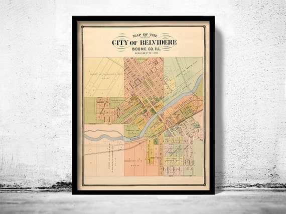 Old Map Of Belvidere Illinois 1886 Etsy