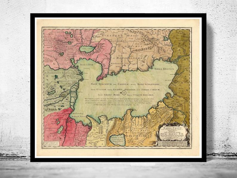 Old Map of Caspian Sea 1750 | Etsy