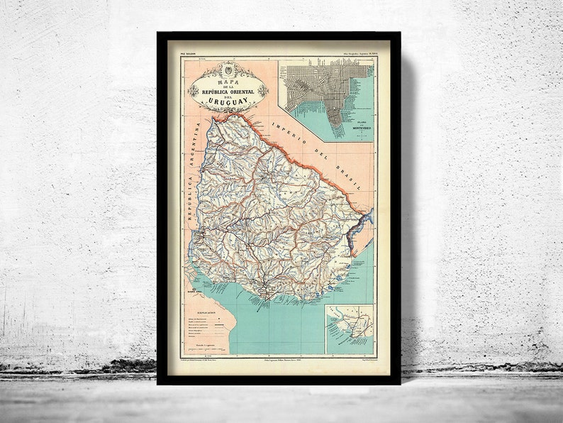 Carte Amerique Latine Uruguay.Ancienne Carte Uruguay Et Montevideo En Amerique Du Sud Etsy