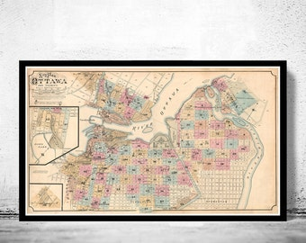 Old Map of Ottawa Canada 1888