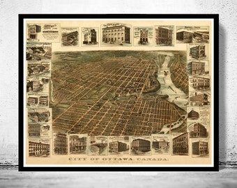 Old Map of Ottawa Canada 1895 Panoramic View