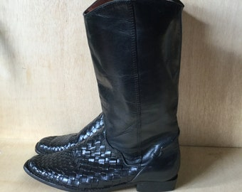 1980s Black Leather Boots Unisa Lattice Weave Tall Knee High Women's Size 7 80s style