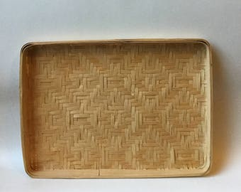 Vintage Small Winnowing Basket Hand Woven Bamboo Rectangle Flat Basket Boho Home Wall Decor Natural