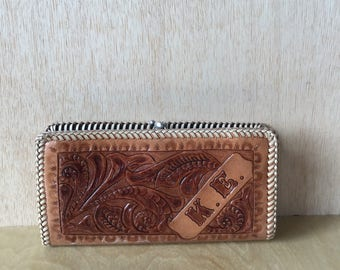Vintage Hand Tooled 1970s Leather Checkbook Wallet Floral Motif K E Initials Boho Chic Western Style