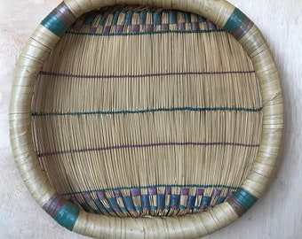 Vintage Hand Woven Bamboo Flat Basket Natural Bohemian Home Decor Boho Style Purple and Teal Tones