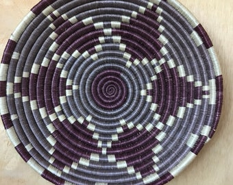 Vintage Hand Woven Coil Flat Basket Made in Rwanda Bohemian Home Interiors Wall Decor Boho Style Purple and Grey Blue