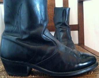 1970s Black Leather Ankle Boots Double H Mens mod hipster dress western zip ankle boot Mens 71/2 Womens 91/2