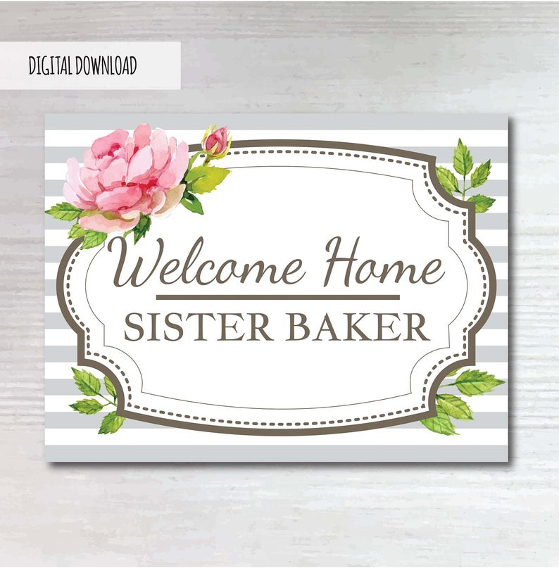 photo regarding Printable Welcome Home Sign referred to as Printable, Floral, Welcome House Indicator, LDS Missionary, Sister Missionary, Mormon Missionary, Homecomeing Indication, Poster, Banner
