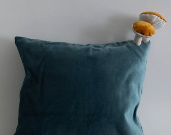 Fungimaa light blue pillow with yellow mushrooms