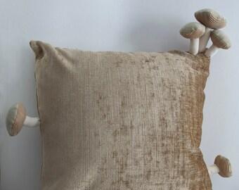 Fungimaa beige pillow with beige mushrooms