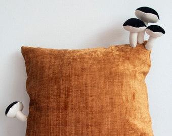 Fungimaa yellow pillow with black mushrooms