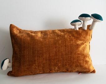 Fungimaa yellow pillow with emerald green mushrooms