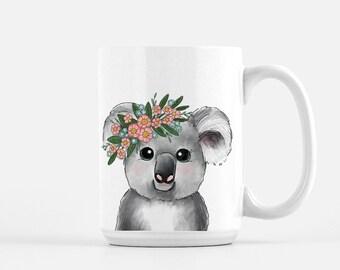 Koala with Flowers - 15oz Mug - Ships Free