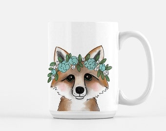 Fox with Flowers - 15oz Mug - Ships Free