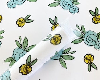 Gift Wrap - Blue & Yellow Floral - 2 Pack