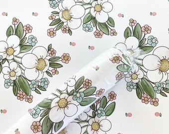 Gift Wrap - White Floral Chintz