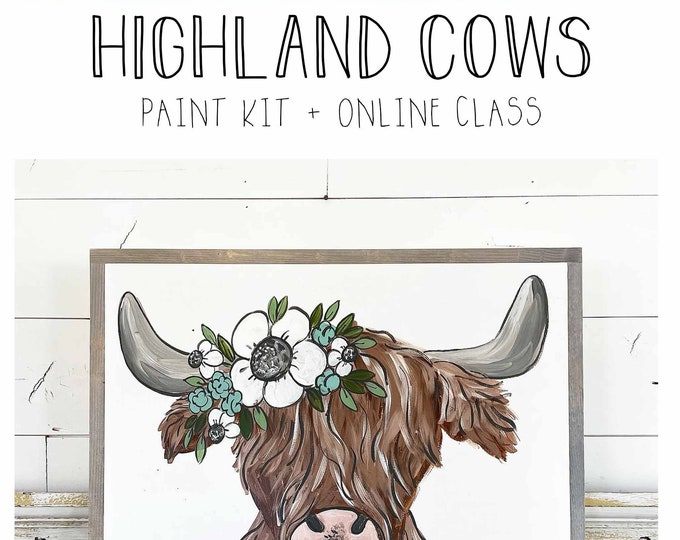 Featured listing image: Highland Cows - Paint Class Kit + Online Class