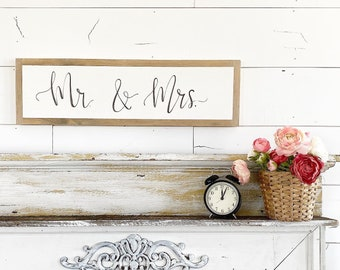Mr. & Mrs - custom combos available / Hand Lettered and Painted sign on Wood Canvas / 6x24