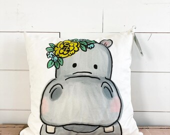 20x20  Pillow - Hippo with Flowers  / Yellow Floral Back