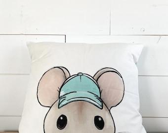 20x20  Pillow - Mouse / Blue Plaid Back