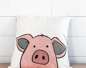 20x20  Pillow - Pig / Black Plaid Back