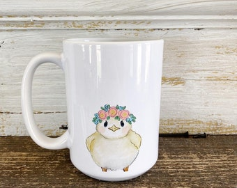Chick with floral crown - 15oz Mug - Ships Free