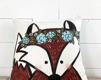 20x20 Pillow - Fox with Flowers / Turquoise Floral Back