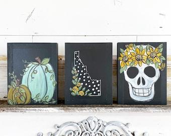 Set of 3 Fall Signs - Skull , Pumpkins , Idaho