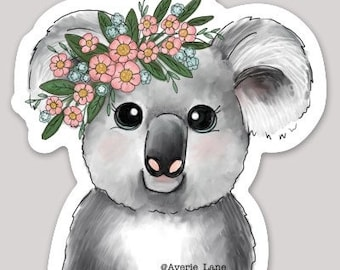 Koala w Flowers Sticker