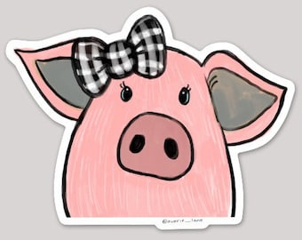 Pig with Bow Sticker