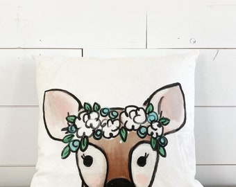 20x20 Pillow - Deer Fawn with Flowers / Blue & Yellow  Floral Back