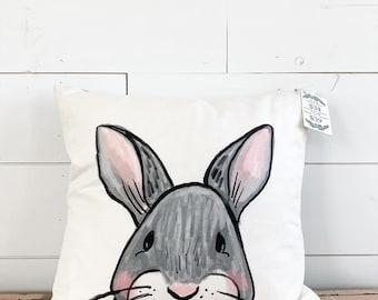 20x20  Pillow - Bunny Rabbit  / Gray Plaid Back