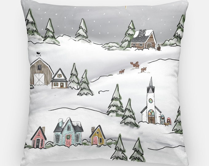 Featured listing image: Vintage Christmas Village Pillow