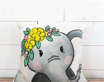 20x20  Pillow - Elephant with Flowers  / Yellow Floral Back