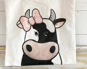 20x20 Pillow Cover | Cow with Pink Bow